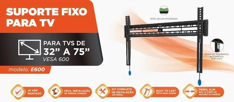 Capa da embalagem do suporte de TV e600 com tamanhos e peso suportados