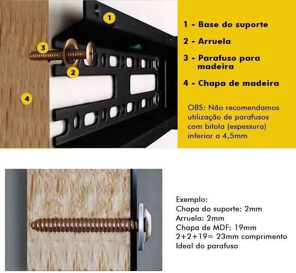 comprimento ideal de parafusos em painel de mdf e suportes para tv
