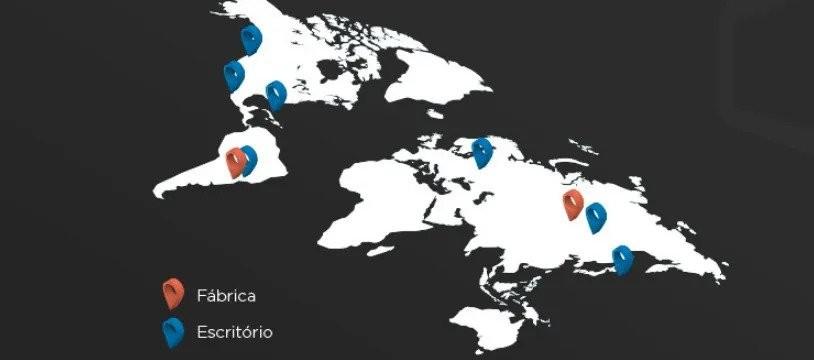 Mapa da fácrica, escritório e parceiros no mundo da ELG